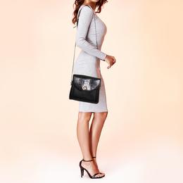 Bally Black Croc Embossed Leather Vintage Flap Shoulder Bag 373233