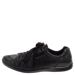 Prada Sport Black Leather Low Top Sneakers Size 44.5 373454