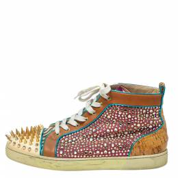 Christian Louboutin Multicolor Leopard Print Calfhair, Leather and Suede Bublle Spike Louis High Top Sneakers Size 45.5 374660