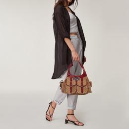 Dior Beige/Red Diorissimo Canvas Multi Pocket Shoulder Bag 373488