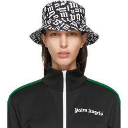 Palm Angels Black and White Monogram Bucket Hat PMLB019R21FAB0011000