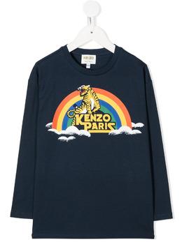 Kenzo Kids футболка с длинными рукавами и принтом KR10518