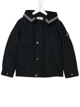 Stone Island Junior куртка с капюшоном и нашивкой-логотипом 731640734