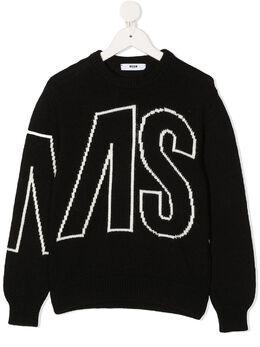 MSGM Kids свитер с жаккардовым логотипом 025303