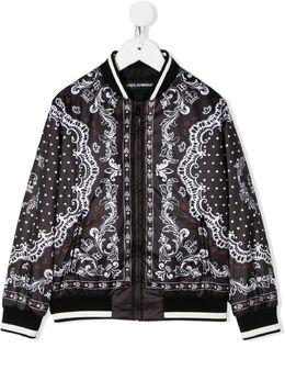 Dolce & Gabbana Kids куртка-бомбер с принтом L4JBV3G7VOT
