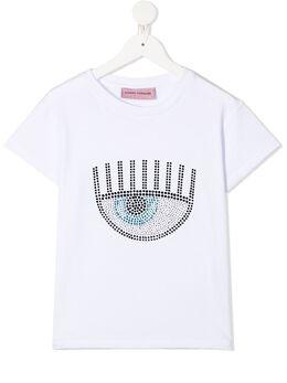 Chiara Ferragni Kids футболка с кристаллами CFKT024
