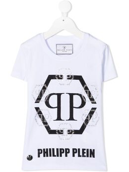 Philipp Plein Junior футболка с логотипом Hexagon из кристаллов F20CGTK0616PJY002N