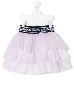 Balmain Kids юбка из тюля в горох 6N7020NC940515BC