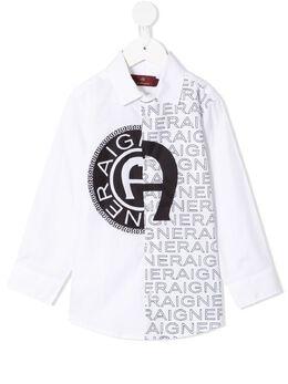 Aigner Kids рубашка с логотипом 53152