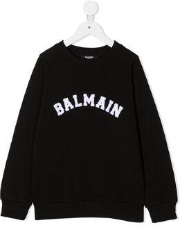 Balmain Kids толстовка с нашивкой-логотипом 6N4690NX300930