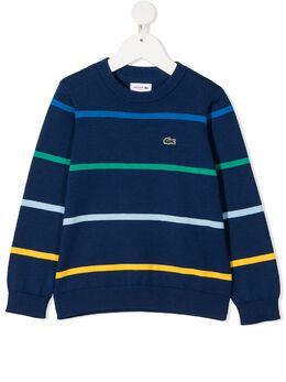 Lacoste Kids полосатый джемпер с вышивкой AJ135500E4X