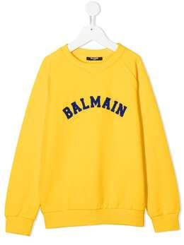 Balmain Kids толстовка с нашивкой-логотипом 6N4690NX300