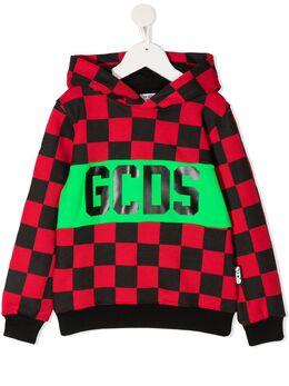 GCDS Kids худи в клетку с логотипом 025871