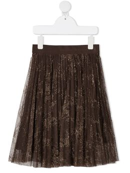 Ermanno Scervino Junior юбка миди с эффектом металлик GN11PIZ
