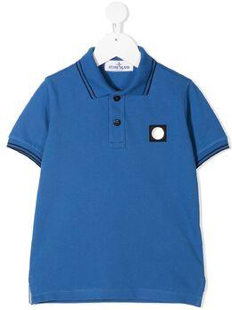 Stone Island Junior рубашка поло с нашивкой-логотипом 731621348