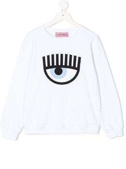 Chiara Ferragni Kids футболка с вышивкой CFKF032