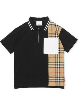 Burberry Kids рубашка поло на молнии со вставкой в клетку Vintage Check 8036416