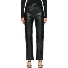 Agolde Black Leather 90s Pinch Waist Trousers A164-1285