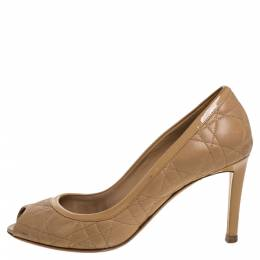Dior Beige Quilted Cannage Leather And Patent Trim Peep Toe Pumps Size 37 375363