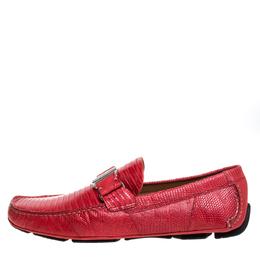 Salvatore Ferragamo Red Lizard Sardegna Loafers Size 44 374672