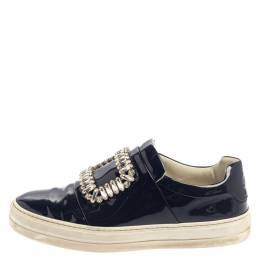 Rger Vivier Blue Patent Leather Sneaky Viv Embellished Low Top Sneakers Size 35 Roger Vivier 374454