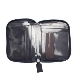 Prada Blue/Dark Blue Leather Zip Around Small Wallet 369337