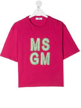 MSGM Kids футболка с вышитым логотипом MS026846