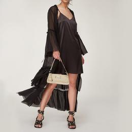 Aigner Vanilla Croc Embossed Leather Baguette Shoulder Bag 373241