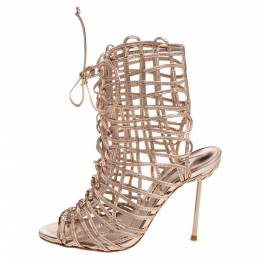Sophia Webster Metallic Rose Gold Leather Delphine Peep Toe Cage Sandals Size 36 374989