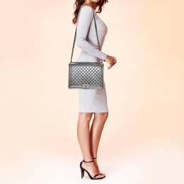 Chanel Silver Quilted Leather Large Boy Flap Bag 373250