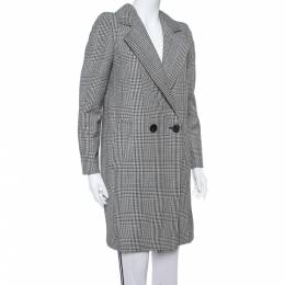 Stella McCartney Monochrome Wool Hounds Tooth Pattern Coat M 374904
