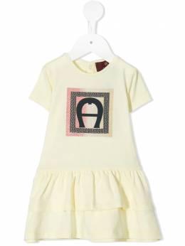 Aigner Kids ярусное платье-футболка с блестящим логотипом 54209