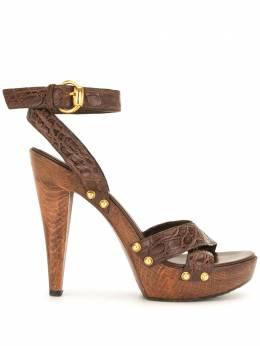 Gucci Pre-Owned босоножки с тиснением под кожу крокодила WS2793GSH