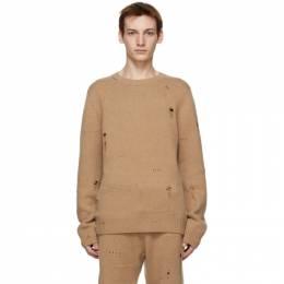 Helmut Lang Tan Heritage Distressed Sweater K10HM705