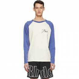 Rhude Off-White and Blue Logo Raglan Long Sleeve T-Shirt RHFW20TT00000027