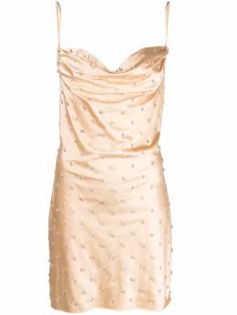 Giuseppe Di Morabito платье с кристаллами и воротником-хомут 137DR92