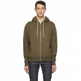 Naked And Famous Denim Green Heavyweight Terry Zip Hoodie 130445384
