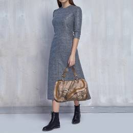 Dior Metallic Brown Gaucho Leather Large Double Saddle Shoulder Bag 373689