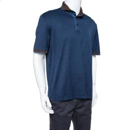 Ermenegildo Zegna Navy Blue Striped Knit Contrast Collar Detail Polo T Shirt 3XL 375549