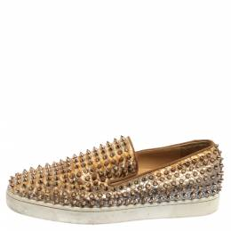 Christian Louboutin Ombre Gold Python Pik Boat Spike Slip On Sneakers Size 45 373834