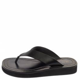 The Row Black Leather Ginza Thong Sandals Size 38 373853