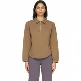 Raquel Allegra Brown Fleece Vintage Collar Sweatshirt Y07-4063
