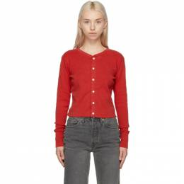 Re/Done Red Hanes Edition Cropped 1950s Cardigan 043-2WCRHU