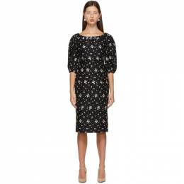 Erdem Black Linen Embroidered Gerald Dress PS21_21477BECL