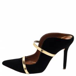Malone Souliers Black and Gold Suede Maureen Pointed Toe Mules Size 38 376252