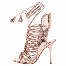Sophia Webster Metallic Rose Gold Leather Peep Toe Cage Sandals Size 36 374912