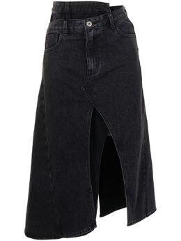 Ground Zero деконструированная джинсовая юбка миди S21JE892