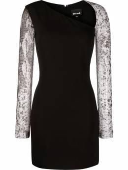Just Cavalli платье со змеиным принтом и сетчатыми рукавами S02CT1137N39518