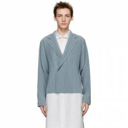 Homme Plisse Issey Miyake Grey Tailored Pleats Double-Breasted Blazer HP08JD209