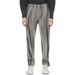 Homme Plisse Issey Miyake Grey Hologram Stripe Trousers HP08JF238